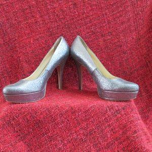 🦋 ENZO ANGIOLINI Silver Sparkle Stiletto Heels